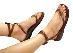 Brown Ankle-Strap Handmade Leather Sandals for Men, Women & Children