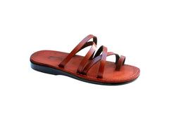 Brown Buckle-Free Handmade Leather Sandals for Men, Women & Children