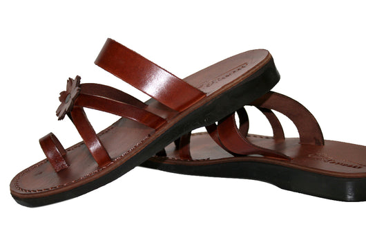 ee2a8dca5 Leather Sandals - Brown Flower Cross Handmade Leather Sandals for Men    Women ...