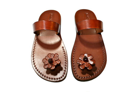 Leather Sandals - Brown Flower-Pop Handmade Leather Sandals for Men & Women