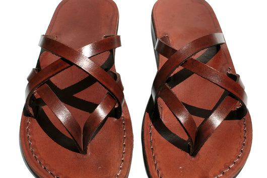 Brown Mixin Leather Handmade Sandals - Jesus Sandals, Unisex Sandals, Flip Flop Sandals, Flat Leather Sandals, Genuine Leather Sandals - Sandali_Sandals