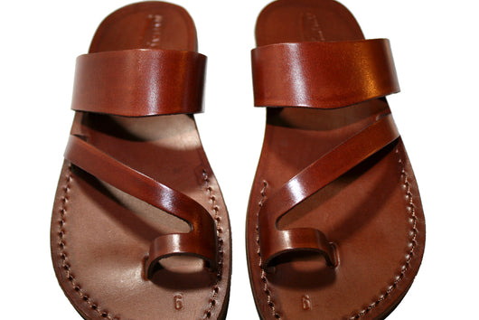 Brown Roman Leather Handmade Sandals - Jesus Sandals, Unisex Sandals, Flip Flop Sandals, Flat Leather Sandals, Genuine Leather Sandals - Sandali_Sandals