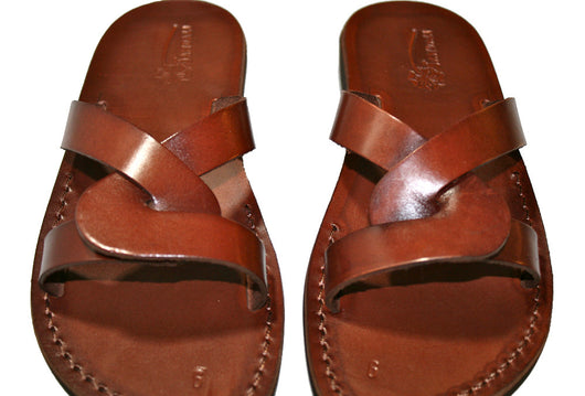 Brown Tumble Leather Handmade Sandals - Jesus Sandals, Unisex Sandals, Flip Flop Sandals, Flat Leather Sandals, Genuine Leather Sandals - Sandali_Sandals