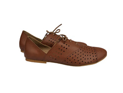 Vegan Shoes - Brown Oxford Vegan Flat Tie Shoes For Women