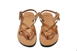 Caramel Mix Leather Sandals - Handmade Sandals, Jesus Sandals, Unisex Sandals, Flip Flop Sandals, Flat Leather Sandals, Genuine Leather Sandals - Sandali_Sandals