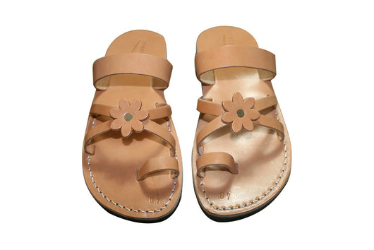 Caramel Flower Cross Leather Handmade Sandals - Jesus Sandals, Unisex Sandals, Flip Flop Sandals, Flat Leather Sandals, Genuine Leather Sandals - Sandali_Sandals
