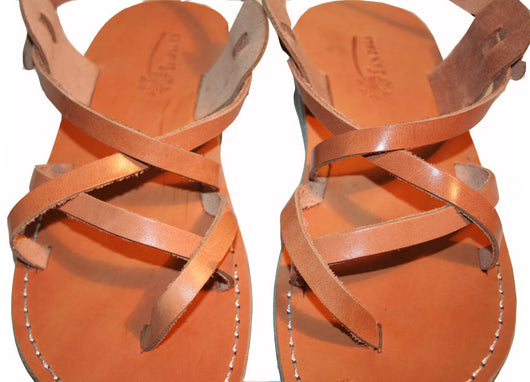 Caramel Triple Leather Sandals - Handmade Sandals, Jesus Sandals, Unisex Sandals, Flip Flop Sandals, Flat Leather Sandals, Genuine Leather Sandals - Sandali_Sandals