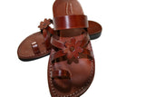 Brown Flower Cross Leather Handmade Sandals - Jesus Sandals, Unisex Sandals, Flip Flop Sandals, Flat Leather Sandals, Genuine Leather Sandals - Sandali_Sandals