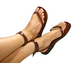 Leather Sandals - Red Ankle-Strap Handmade Leather Sandals for Men & Women