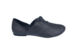 Vegan Shoes - Grey Oxford Vegan Flat Tie Shoes For Women