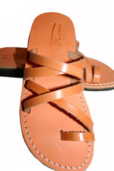 Caramel Buckle-Free Handmade Leather Sandals for Men, Women & Children - Sandali_Sandals