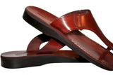Brown Wave Leather Handmade Sandals - Jesus Sandals, Unisex Sandals, Flip Flop Sandals, Flat Leather Sandals, Genuine Leather Sandals - Sandali_Sandals
