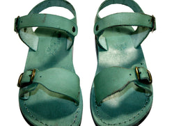Green Eclipse Leather Sandals - Handmade Sandals, Jesus Sandals, Unisex Sandals, Flip Flop Sandals, Flat Leather Sandals, Genuine Leather Sandals - Sandali_Sandals