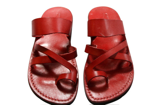 Red Bath Leather Sandals - Handmade Sandals, Jesus Sandals, Unisex Sandals, Flip Flop Sandals, Flat Leather Sandals, Genuine Leather Sandals - Sandali_Sandals
