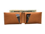 Leather Wallet - Black Leather Slit Wallet Coin Money Purse for Men & Women