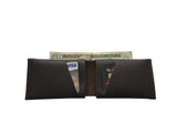 Dark Brown Leather Slit Wallet Coin Money Purse for Men & Women - Accessories