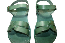 Green Circle Leather Sandals - Handmade Sandals, Jesus Sandals, Unisex Sandals, Flip Flop Sandals, Flat Leather Sandals, Genuine Leather Sandals - Sandali_Sandals