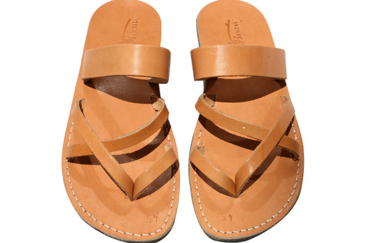 Caramel Moon Leather Sandals - Handmade Sandals, Jesus Sandals, Unisex Sandals, Flip Flop Sandals, Flat Leather Sandals, Genuine Leather Sandals - Sandali_Sandals