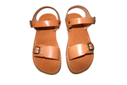 Caramel Eclipse Leather Sandals - Handmade Sandals, Jesus Sandals, Unisex Sandals, Flip Flop Sandals, Flat Leather Sandals, Genuine Leather Sandals - Sandali_Sandals