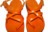 Orange Triple Handmade Leather Sandals for Men, Women & Children - Sandali_Sandals