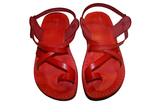 Red Roxy Leather Handmade Sandals - Jesus Sandals, Unisex Sandals, Flip Flop Sandals, Flat Leather Sandals, Genuine Leather Sandals - Sandali_Sandals