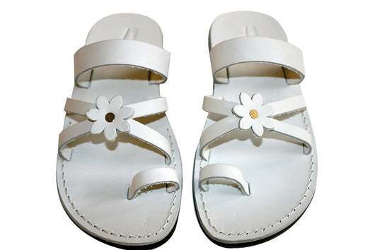 White Flower Cross Leather Handmade Sandals - Jesus Sandals, Unisex Sandals, Flip Flop Sandals, Flat Leather Sandals, Genuine Leather Sandals - Sandali_Sandals