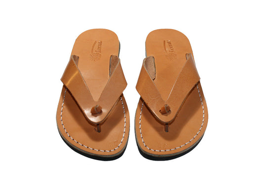 Caramel Surf Leather Sandals - Handmade Sandals, Jesus Sandals, Unisex Sandals, Flip Flop Sandals, Flat Leather Sandals, Genuine Leather Sandals - Sandali_Sandals