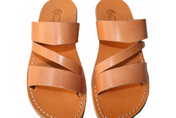 Caramel Flip Leather Sandals - Handmade Sandals, Jesus Sandals, Unisex Sandals, Flip Flop Sandals, Flat Leather Sandals, Genuine Leather Sandals - Sandali_Sandals