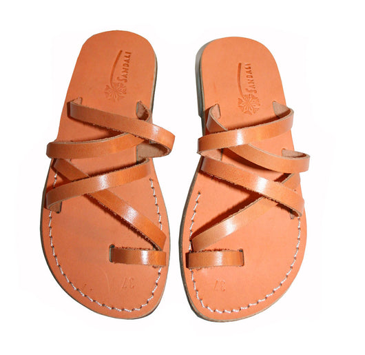 Caramel Buckle-Free Leather Sandals - Handmade Sandals, Jesus Sandals, Unisex Sandals, Flip Flop Sandals, Flat Leather Sandals, Genuine Leather Sandals - Sandali_Sandals