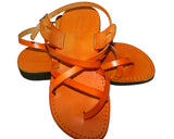 Orange Triple Leather Handmade Sandals - Jesus Sandals, Unisex Sandals, Flip Flop Sandals, Flat Leather Sandals, Genuine Leather Sandals - Sandali_Sandals