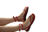 Red Ankle-Strap Handmade Leather Sandals for Men, Women & Children - Sandali_Sandals