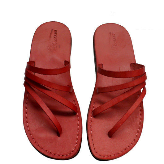 Red Rainbow Leather Handmade Sandals - Jesus Sandals, Unisex Sandals, Flip Flop Sandals, Flat Leather Sandals, Genuine Leather Sandals - Sandali_Sandals