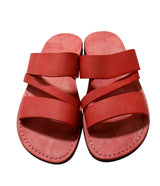 Red Flip Leather Sandals - Handmade Sandals, Jesus Sandals, Unisex Sandals, Flip Flop Sandals, Flat Leather Sandals, Genuine Leather Sandals - Sandali_Sandals
