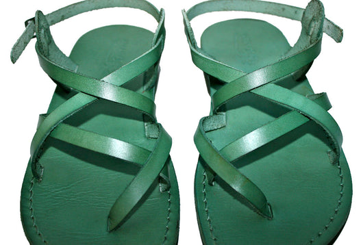 Green Triple Leather Sandals - Handmade Sandals, Jesus Sandals, Unisex Sandals, Flip Flop Sandals, Flat Leather Sandals, Genuine Leather Sandals - Sandali_Sandals