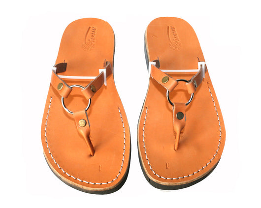 Caramel Skinny Leather Sandals - Handmade Sandals, Jesus Sandals, Unisex Sandals, Flip Flop Sandals, Flat Leather Sandals, Genuine Leather Sandals - Sandali_Sandals