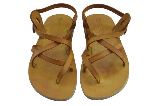 Yellow Triple Handmade Leather Sandals for Men, Women & Children - Sandali_Sandals
