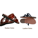 Leather Sandals - Brown Flower Cross Handmade Leather Sandals for Men & Women