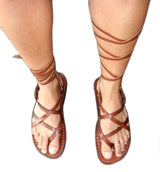 Brown Gladiator Leather Handmade Sandals - Jesus Sandals, Unisex Sandals, Flip Flop Sandals, Flat Leather Sandals, Genuine Leather Sandals - Sandali_Sandals