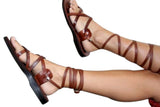 Leather Sandals - Caramel Gladiator Handmade Leather Sandals for Men & Women