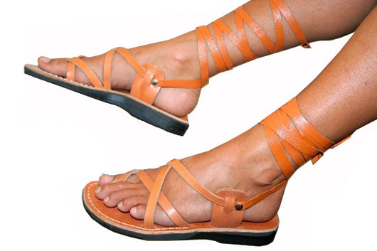 Caramel Gladiator Handmade Leather Sandals for Men, Women & Children - Sandali_Sandals