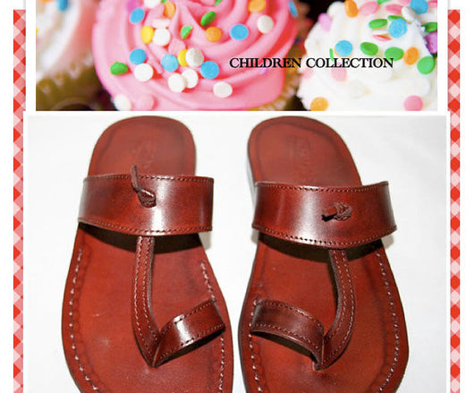 Children Leather Sandals for Boys & Girls - Twizzle Design - Handmade Kids Sandals, Flip Flop Sandals, Jesus Sandals, Toddler Leather Sandals - Sandali_Sandals