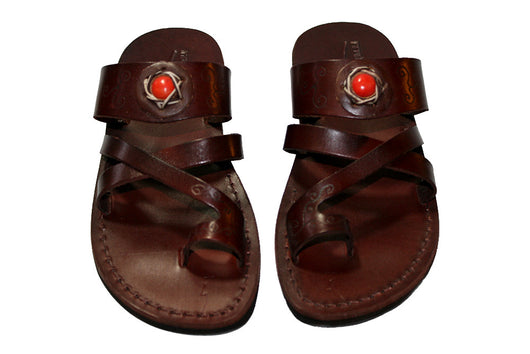 Dark Brown Decor Bath Leather Handmade Sandals - Jesus Sandals, Unisex Sandals, Flip Flop Sandals, Flat Leather Sandals, Genuine Leather Sandals - Sandali_Sandals