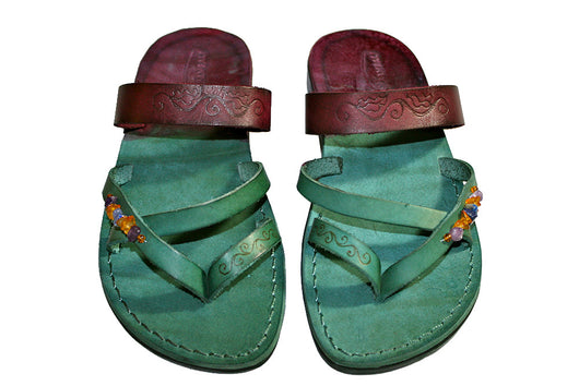 Multicolor Decor Moon Leather Handmade Sandals - Jesus Sandals, Unisex Sandals, Flip Flop Sandals, Flat Leather Sandals, Genuine Leather Sandals - Sandali_Sandals