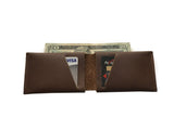 Leather Wallet - Dark Brown Leather Slit Wallet Coin Money Purse for Men & Women
