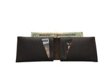 Leather Wallet - Chocolate Brown Leather Slit Wallet Coin Money Purse for Men & Women