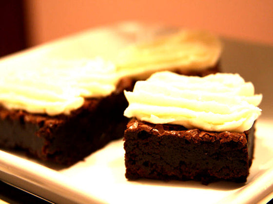 Flourless Chocolate Brownies with Cream Cheese Schmear