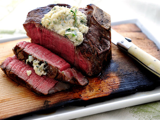 Ribeye Steak with Crab Meat Compound Butter, Haricots Vert and Garlic Mashed Potatoes