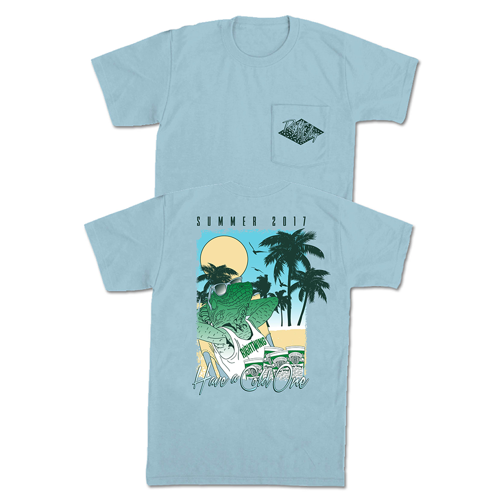 Right Wing Iguana Pocket Tee - Chambray