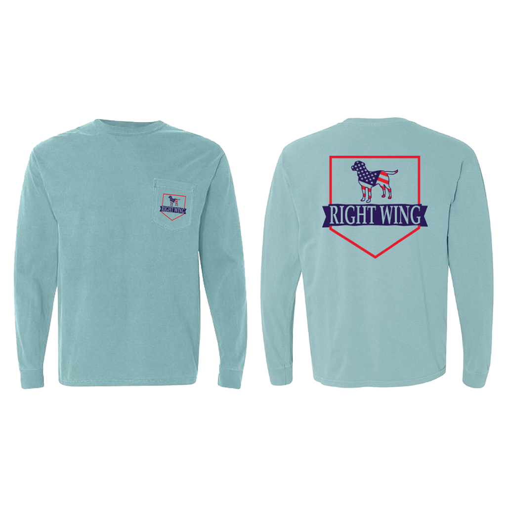 Right Wing USA Crest Long Sleeve Pocket Tee (Chalky Mint)