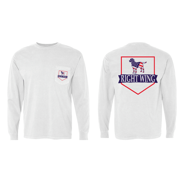 Right Wing USA Crest Long Sleeve Pocket Tee (White)